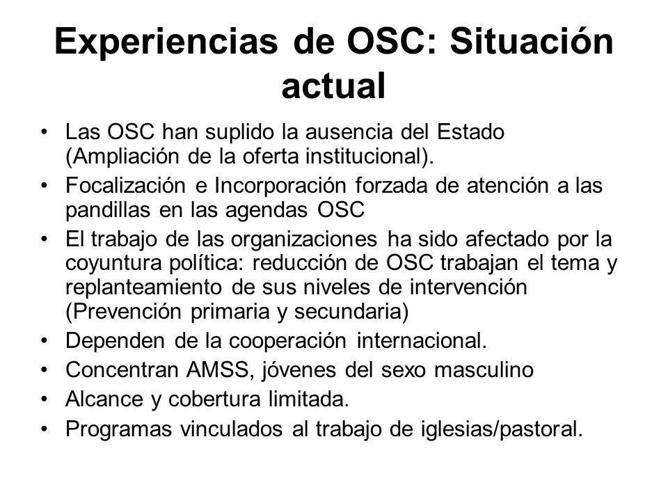Experiencias de OSC: Situación actual Las OSC han suplido la ausencia del Estado (Ampliación de la oferta institucional). Focalización e Incorporación