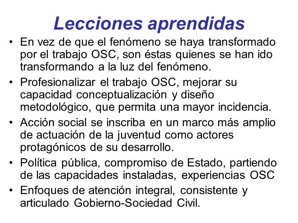 Lecciones aprendidas En vez de que el fenómeno se haya transformado por el trabajo OSC, son éstas quienes se han ido transformando a la luz del fenóme