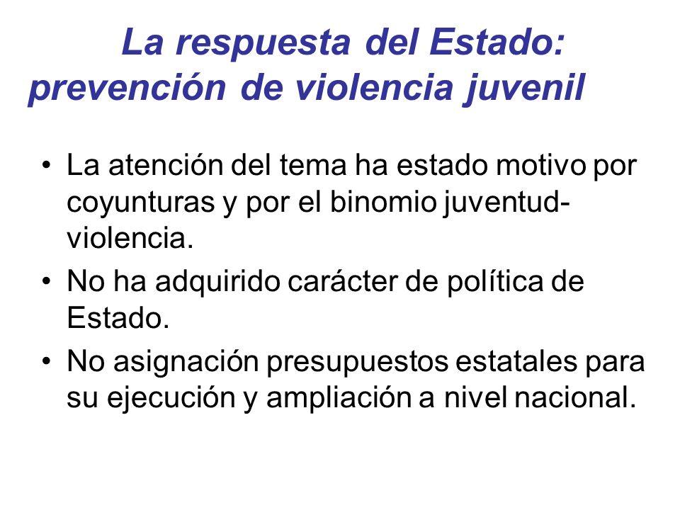 La respuesta del Estado: prevención de violencia juvenil La atención del tema ha estado motivo por coyunturas y por el binomio juventud- violencia. No