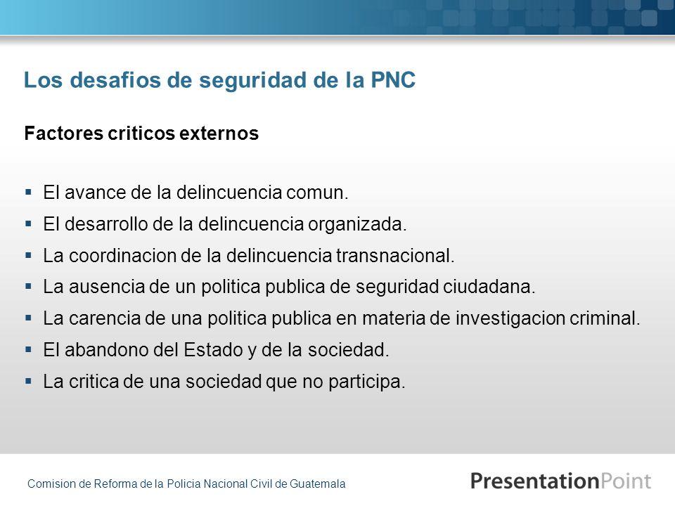 Comision de Reforma de la Policia Nacional Civil de Guatemala Los desafios de seguridad de la PNC El avance de la delincuencia comun. El desarrollo de