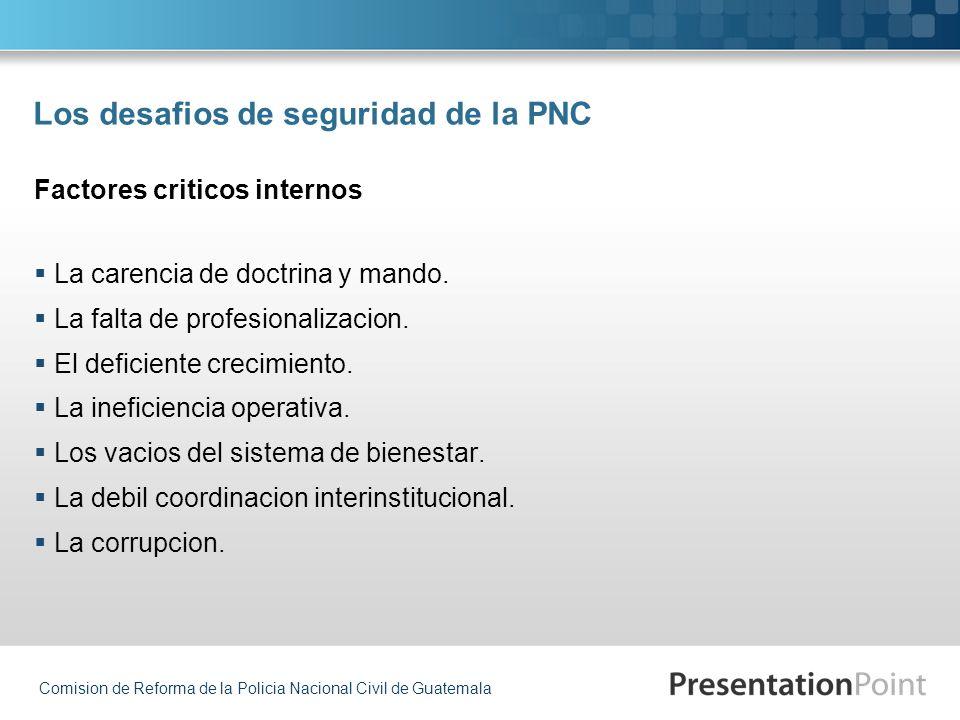 Comision de Reforma de la Policia Nacional Civil de Guatemala Los desafios de seguridad de la PNC La carencia de doctrina y mando. La falta de profesi