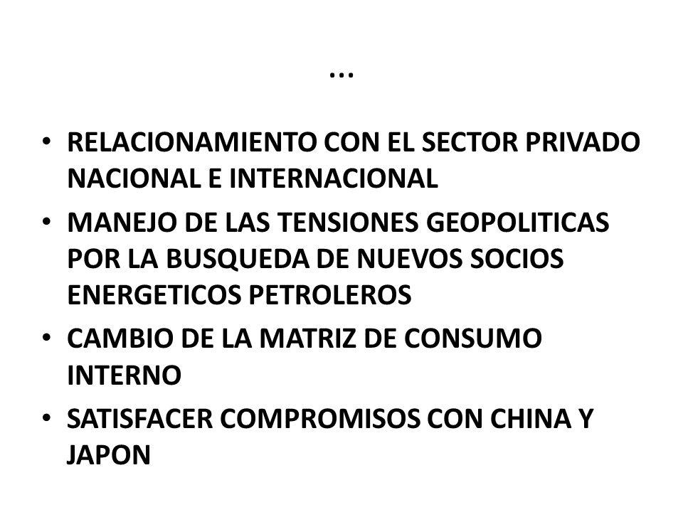 … RELACIONAMIENTO CON EL SECTOR PRIVADO NACIONAL E INTERNACIONAL MANEJO DE LAS TENSIONES GEOPOLITICAS POR LA BUSQUEDA DE NUEVOS SOCIOS ENERGETICOS PETROLEROS CAMBIO DE LA MATRIZ DE CONSUMO INTERNO SATISFACER COMPROMISOS CON CHINA Y JAPON