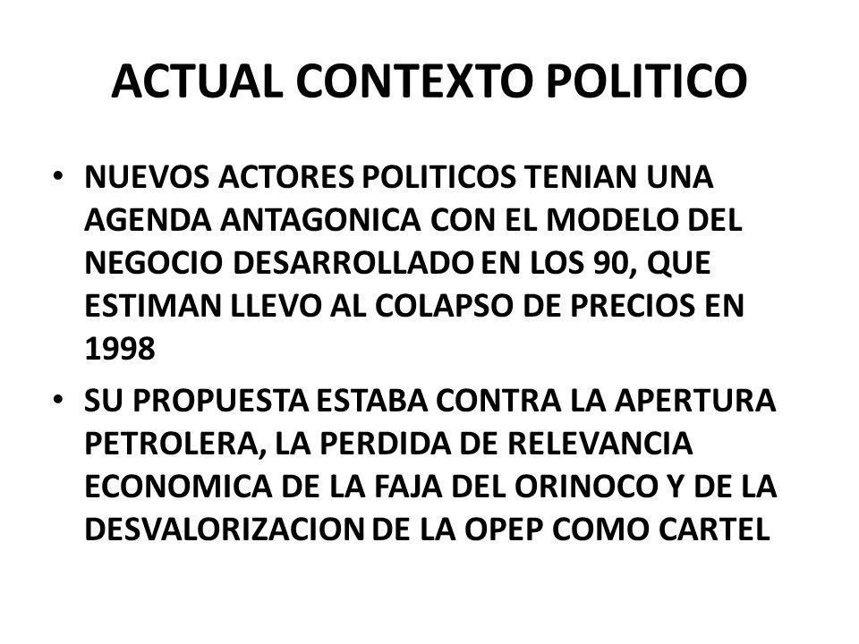 ACTUAL CONTEXTO POLITICO NUEVOS ACTORES POLITICOS TENIAN UNA AGENDA ANTAGONICA CON EL MODELO DEL NEGOCIO DESARROLLADO EN LOS 90, QUE ESTIMAN LLEVO AL COLAPSO DE PRECIOS EN 1998 SU PROPUESTA ESTABA CONTRA LA APERTURA PETROLERA, LA PERDIDA DE RELEVANCIA ECONOMICA DE LA FAJA DEL ORINOCO Y DE LA DESVALORIZACION DE LA OPEP COMO CARTEL