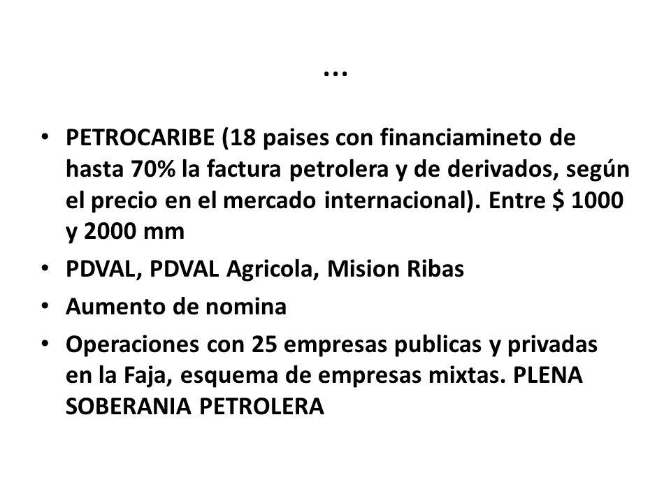 … PETROCARIBE (18 paises con financiamineto de hasta 70% la factura petrolera y de derivados, según el precio en el mercado internacional).
