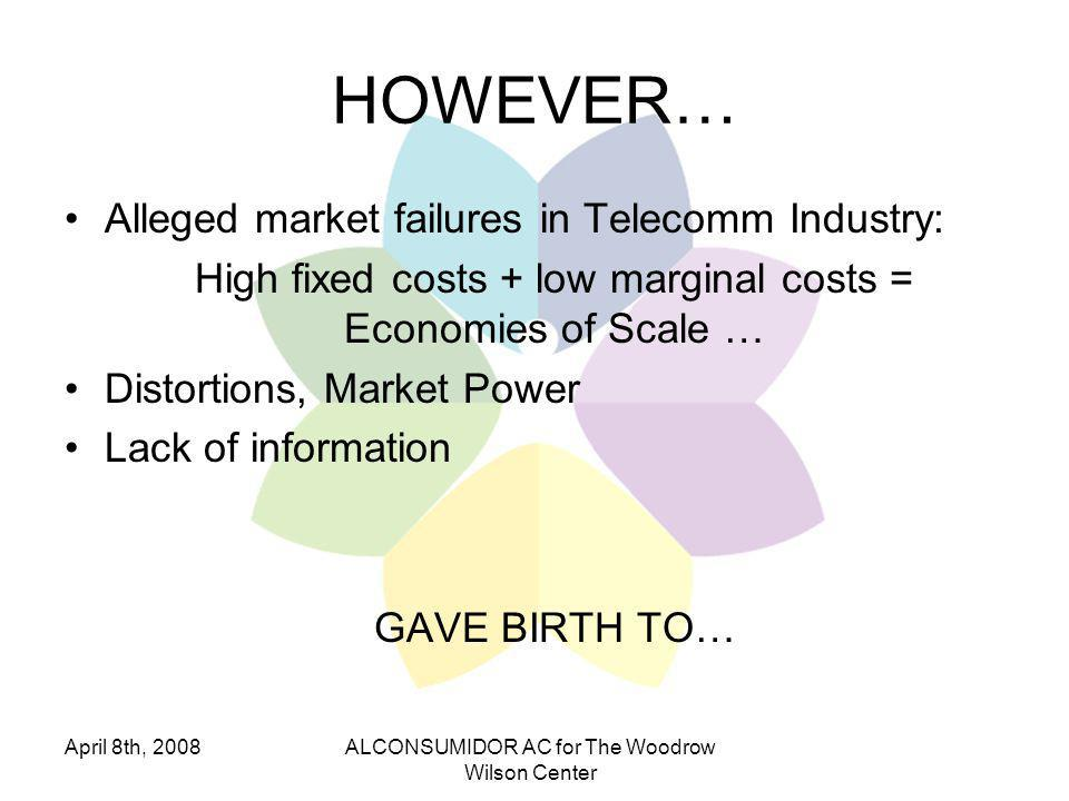 April 8th, 2008ALCONSUMIDOR AC for The Woodrow Wilson Center HOWEVER… Alleged market failures in Telecomm Industry: High fixed costs + low marginal costs = Economies of Scale … Distortions, Market Power Lack of information GAVE BIRTH TO…