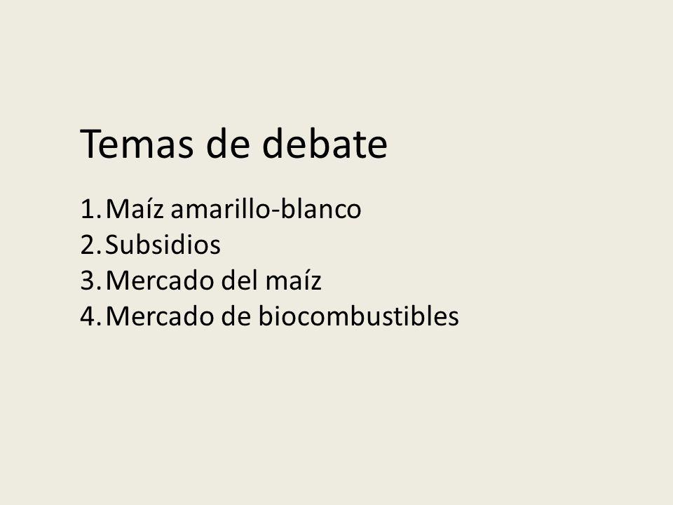 Temas de debate 1.Maíz amarillo-blanco 2.Subsidios 3.Mercado del maíz 4.Mercado de biocombustibles