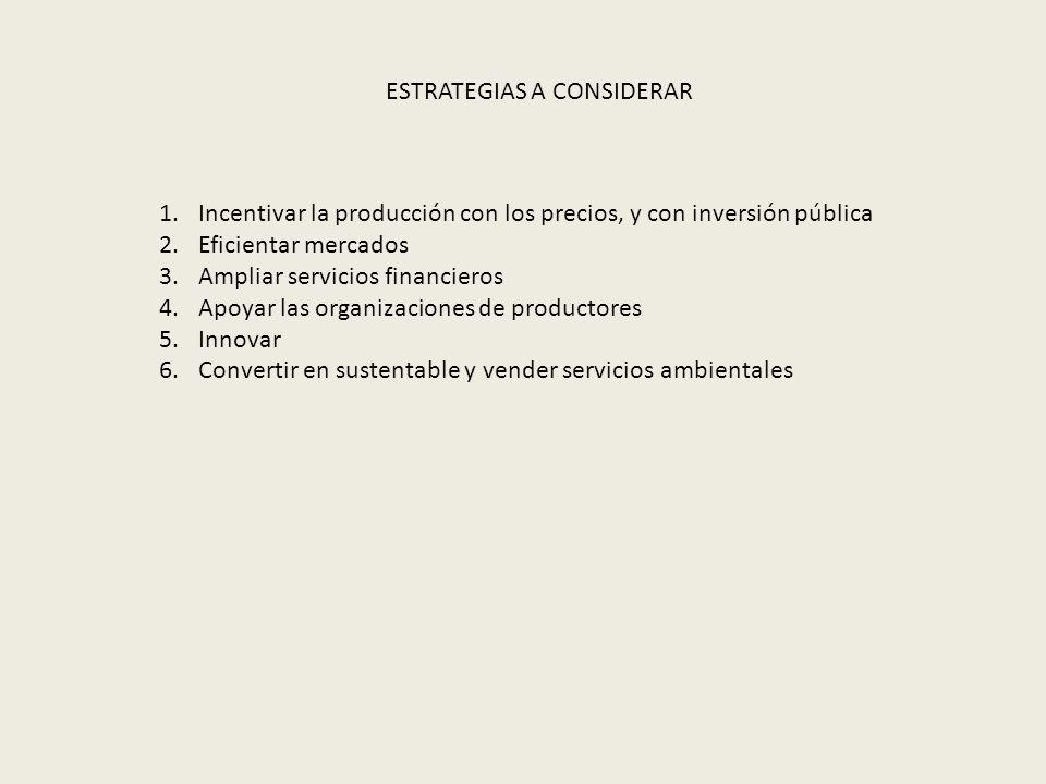 1.Incentivar la producción con los precios, y con inversión pública 2.Eficientar mercados 3.Ampliar servicios financieros 4.Apoyar las organizaciones de productores 5.Innovar 6.Convertir en sustentable y vender servicios ambientales ESTRATEGIAS A CONSIDERAR