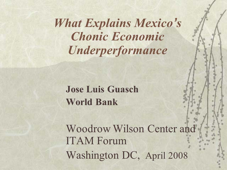 What Explains Mexico s Chonic Economic Underperformance Jose Luis Guasch World Bank Woodrow Wilson Center and ITAM Forum Washington DC, April 2008