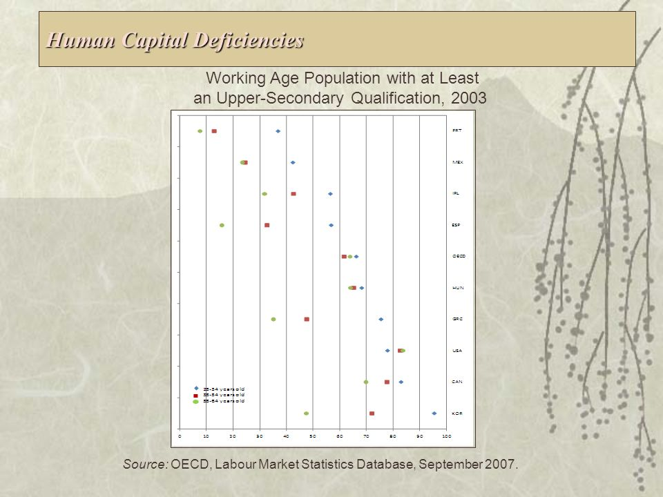 Under-performance of the Mexican Innovation System Lack of Sufficient Public and Private Resources and Incentives Devoted to Innovation Capacity Building Low Level Equilibrium between Supply and Demand of R&D Weakness in Incentives Aimed at Fostering Interactions between Agents that Hinder Technology Diffusion A Persistent Deficit in High Skilled Capital Inadequate Framework Conditions Factors Influencing Innovation Source: OECD 2008.