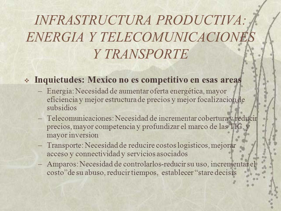 Cuellos de botella a la competitividad en México: Productividad, reflejada por los siguientes factores: Entorno competitivo, tributario Oferta productiva ( calidad, innovación e integración de cadenas productivas, capital humano) Costos logísticos (transporte y servicios asociados) Costos de actividad económica (doing business) Costos en mercados de factores (financieros y laborales) Infrastructura productiva (telecomunicaciones y energía) Sector privado quizá demasiado mirando hacia adentro (inward-looking) y hacia USA