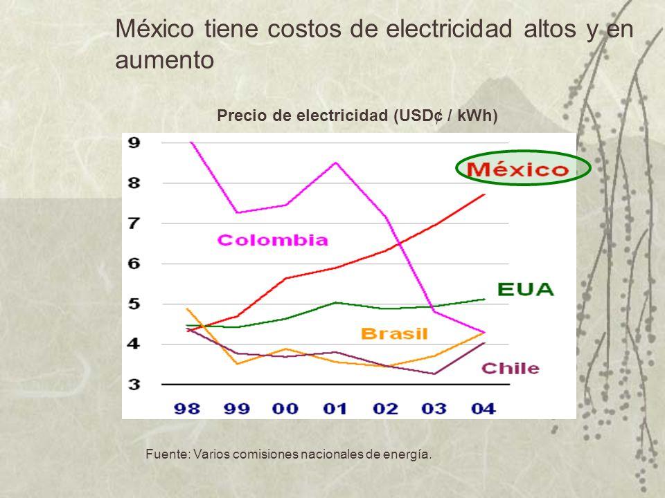México: Necesidades proyectadas en la capacidad de generación Fuente: Secretaría de Energía de México y World Energy Outlook, 2002 México: requiere un crecimiento rápido en la capacidad instalada