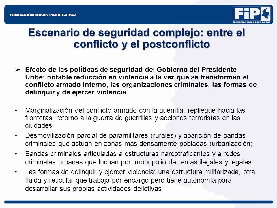 Escenario de seguridad complejo: entre el conflicto y el postconflicto Efecto de las políticas de seguridad del Gobierno del Presidente Uribe: notable