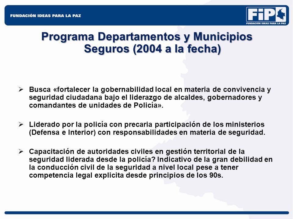 Programa Departamentos y Municipios Seguros (2004 a la fecha) Busca «fortalecer la gobernabilidad local en materia de convivencia y seguridad ciudadan