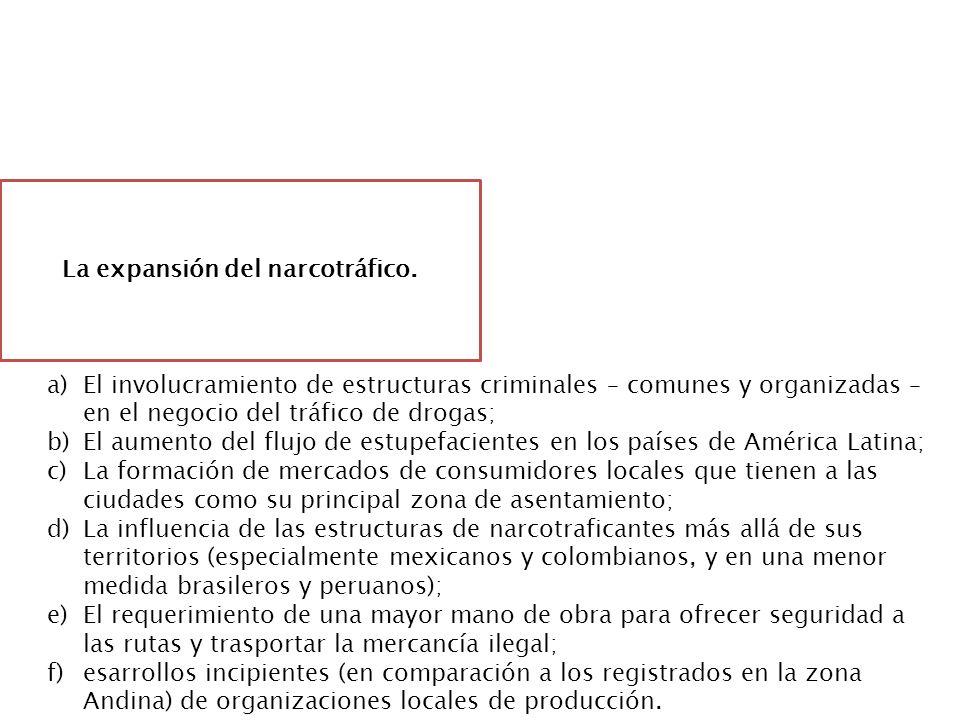 ¿Cuál es el impacto? La expansión del narcotráfico. a)El involucramiento de estructuras criminales – comunes y organizadas – en el negocio del tráfico