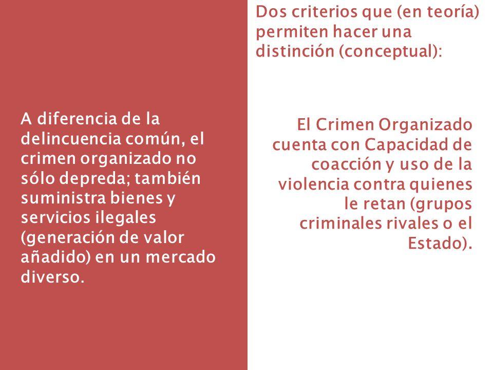 Dos criterios que (en teoría) permiten hacer una distinción (conceptual): A diferencia de la delincuencia común, el crimen organizado no sólo depreda;