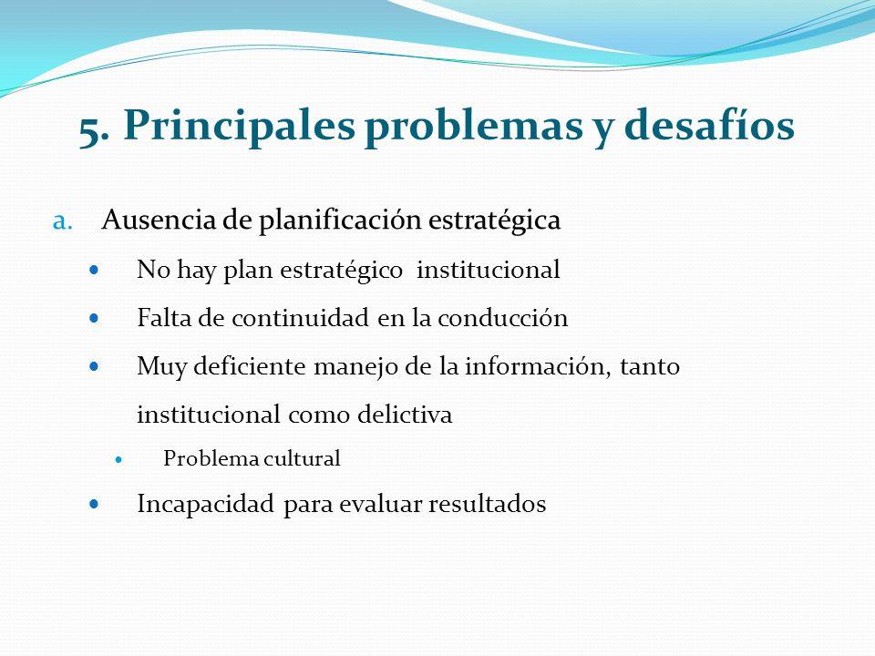 5. Principales problemas y desafíos a.Ausencia de planificación estratégica No hay plan estratégico institucional Falta de continuidad en la conducció