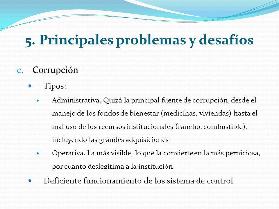 5. Principales problemas y desafíos c.Corrupción Tipos: Administrativa.