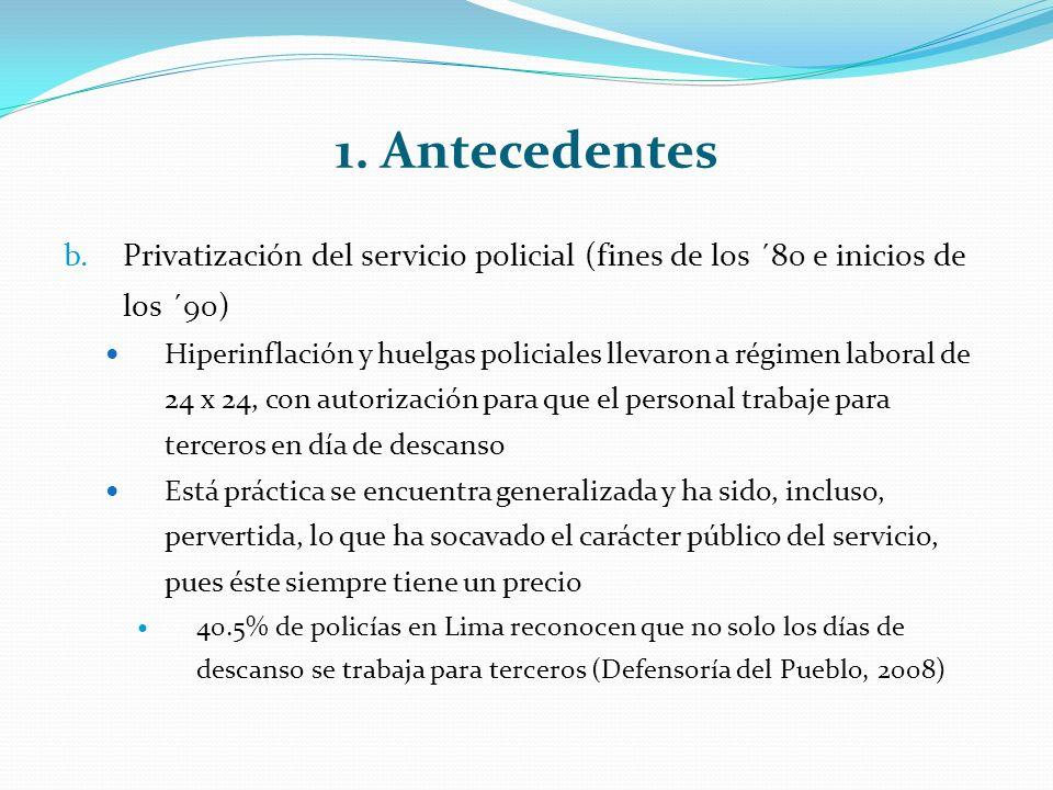 1. Antecedentes b.Privatización del servicio policial (fines de los ´80 e inicios de los ´90) Hiperinflación y huelgas policiales llevaron a régimen l