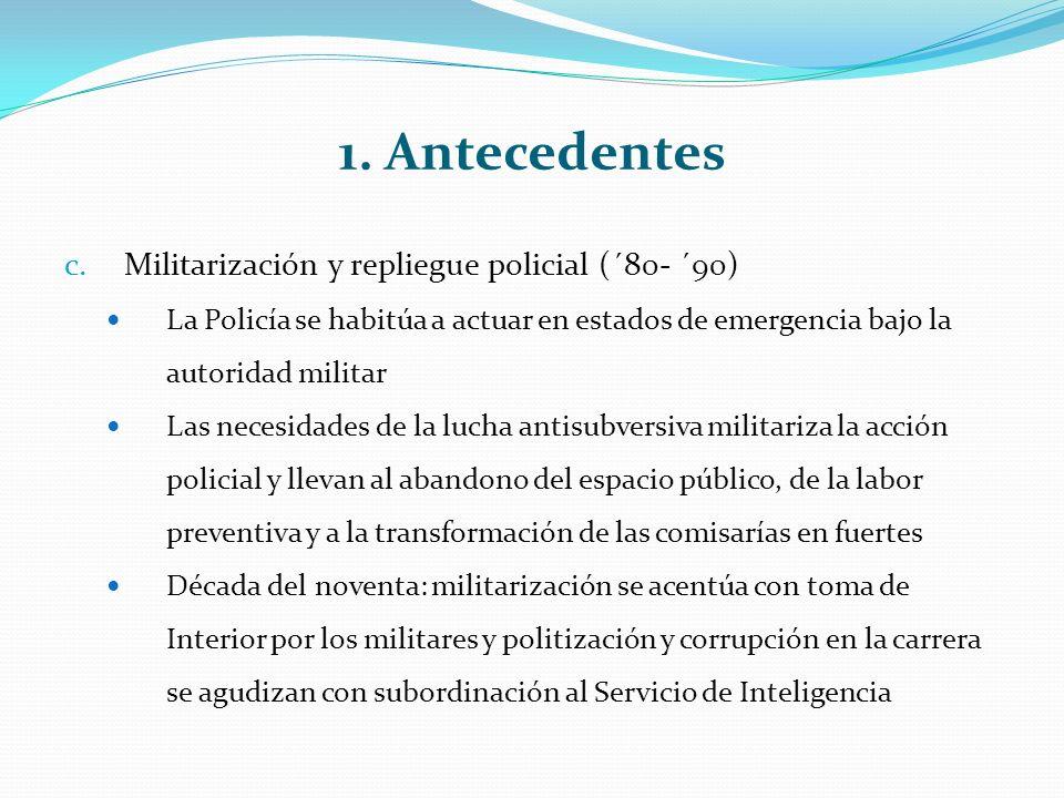 1. Antecedentes c.Militarización y repliegue policial (´80- ´90) La Policía se habitúa a actuar en estados de emergencia bajo la autoridad militar Las