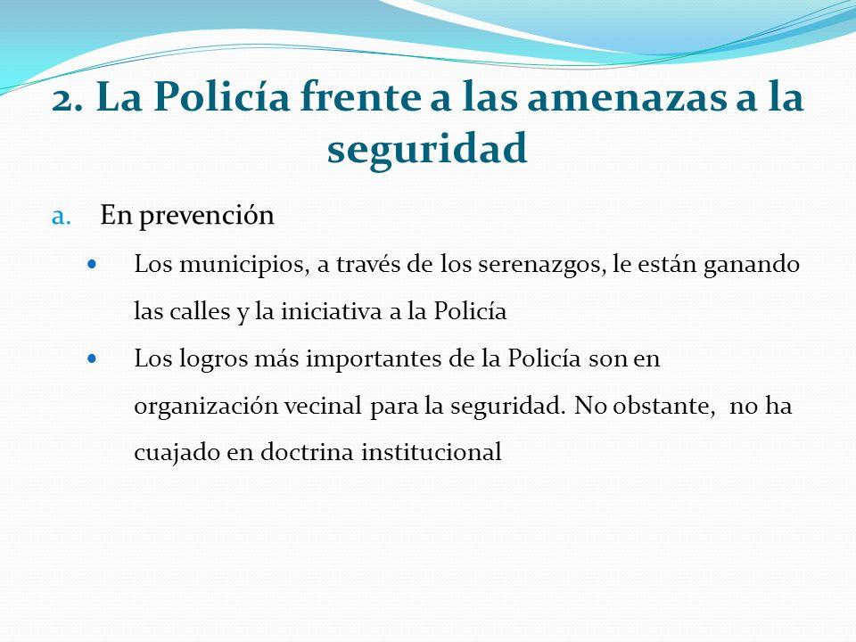 2. La Policía frente a las amenazas a la seguridad a.En prevención Los municipios, a través de los serenazgos, le están ganando las calles y la inicia