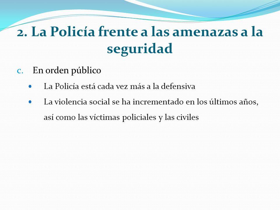 2. La Policía frente a las amenazas a la seguridad c.En orden público La Policía está cada vez más a la defensiva La violencia social se ha incrementa