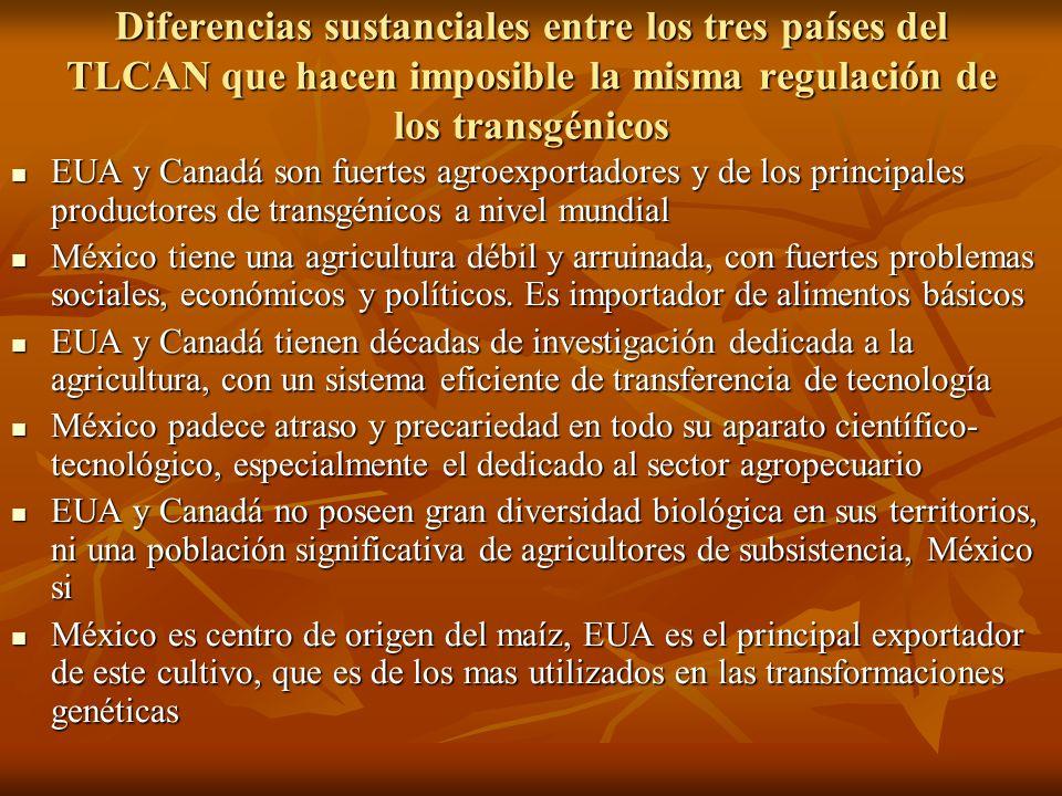 Diferencias sustanciales entre los tres países del TLCAN que hacen imposible la misma regulación de los transgénicos EUA y Canadá son fuertes agroexpo