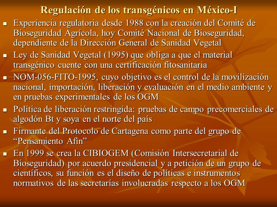 Regulación de los transgénicos en México-I Experiencia regulatoria desde 1988 con la creación del Comité de Bioseguridad Agrícola, hoy Comité Nacional