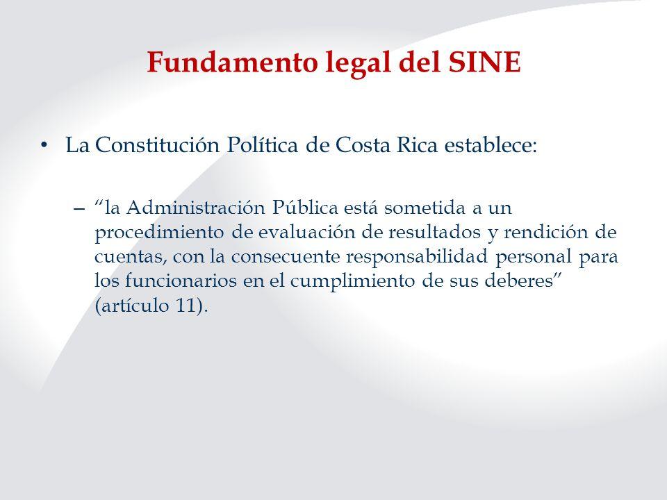 Fundamento legal del SINE La Constitución Política de Costa Rica establece: – la Administración Pública está sometida a un procedimiento de evaluación