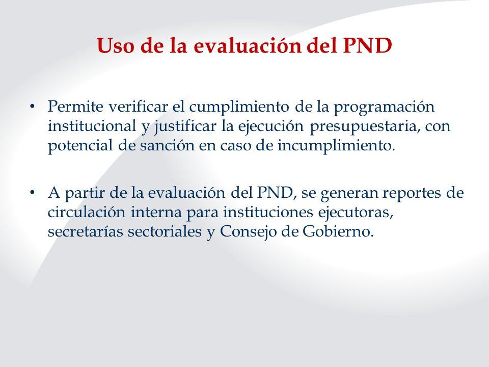 Uso de la evaluación del PND Adicionalmente, se generan informes para instancias fiscalizadoras (Contraloría General de la República y Asamblea Legislativa) y espacios de discusión, en el seno de estas instancias, sobre los resultados reportados.
