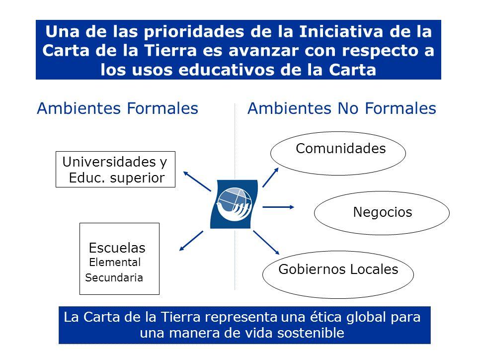 Una de las prioridades de la Iniciativa de la Carta de la Tierra es avanzar con respecto a los usos educativos de la Carta Ambientes FormalesAmbientes