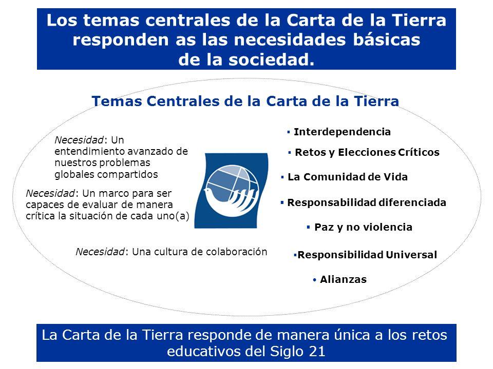 Los temas centrales de la Carta de la Tierra responden as las necesidades básicas de la sociedad. La Carta de la Tierra responde de manera única a los