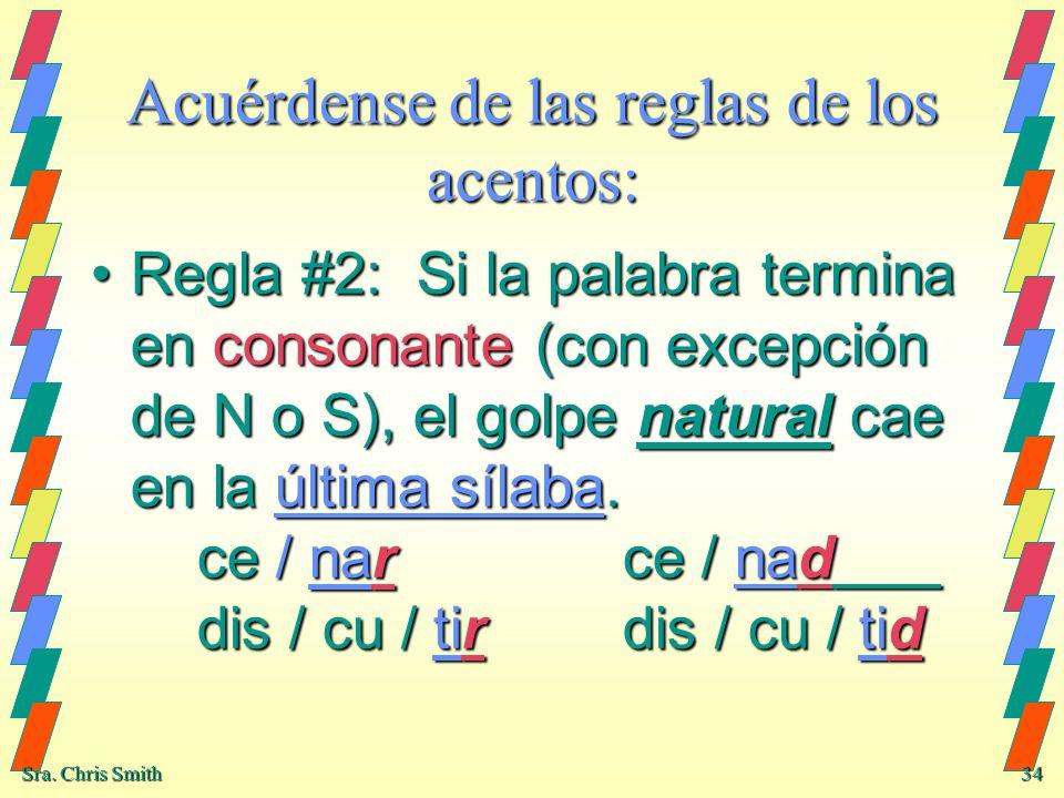 Sra. Chris Smith 34 Acuérdense de las reglas de los acentos: Regla #2: Si la palabra termina en consonante (con excepción de N o S), el golpe natural