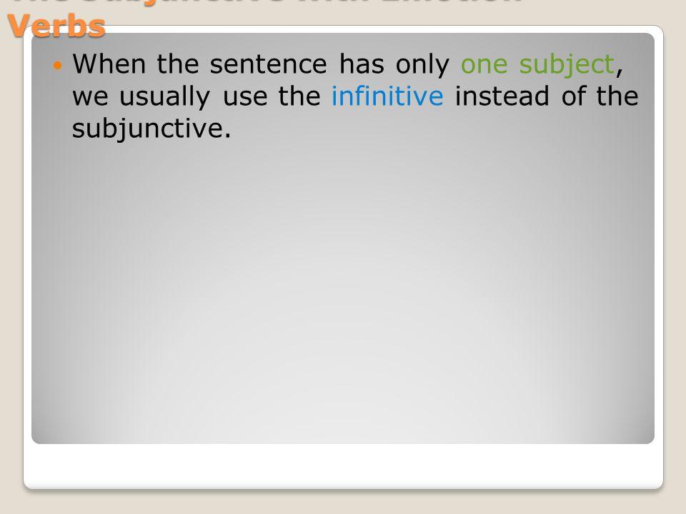 The Subjunctive with Emotion Verbs Siento no pasar (yo) mucho tiempo con mis amigas.