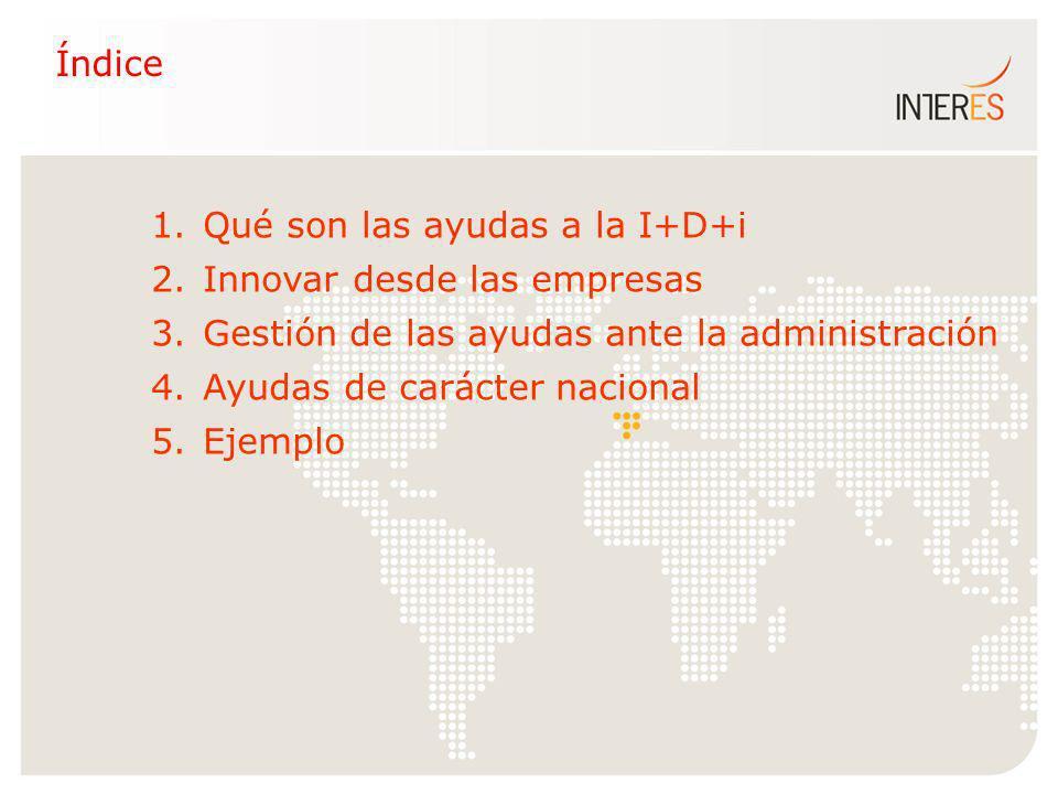 1. Qué son las ayudas a la I+D+i 2. Innovar desde las empresas 3. Gestión de las ayudas ante la administración 4. Ayudas de carácter nacional 5. Ejemp