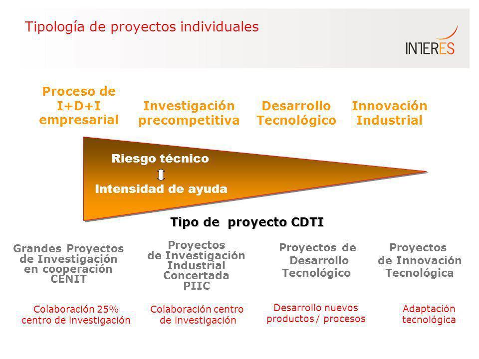 Tipología de proyectos individuales Proceso de I+D+I empresarial Investigación precompetitiva Desarrollo Tecnológico Innovación Industrial Proyectos d