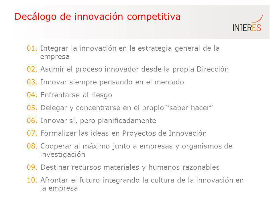 Decálogo de innovación competitiva 01. Integrar la innovación en la estrategia general de la empresa 02. Asumir el proceso innovador desde la propia D
