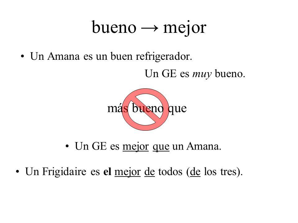 bueno mejor Un Amana es un buen refrigerador. Un GE es mejor que un Amana. Un Frigidaire es el mejor de todos (de los tres). más bueno que Un GE es mu