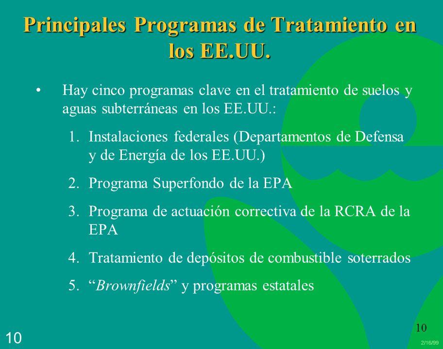 2/16/99 10 Principales Programas de Tratamiento en los EE.UU. Hay cinco programas clave en el tratamiento de suelos y aguas subterráneas en los EE.UU.