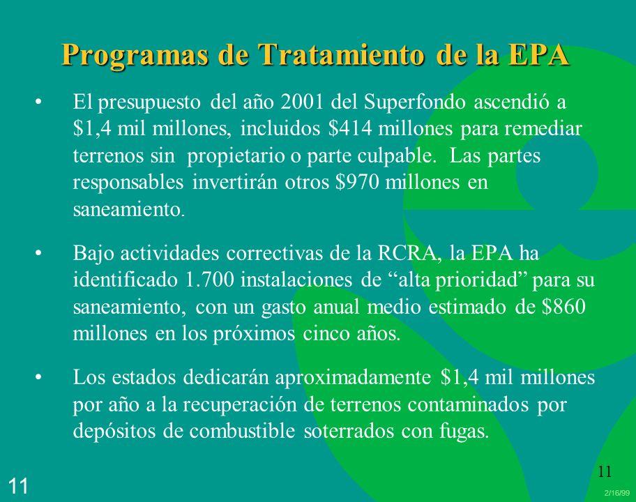 2/16/99 11 Programas de Tratamiento de la EPA El presupuesto del año 2001 del Superfondo ascendió a $1,4 mil millones, incluidos $414 millones para re