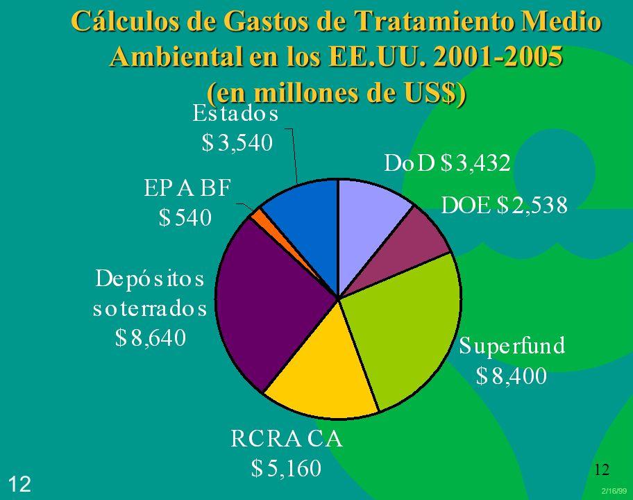2/16/99 12 Cálculos de Gastos de Tratamiento Medio Ambiental en los EE.UU. 2001-2005 (en millones de US$)