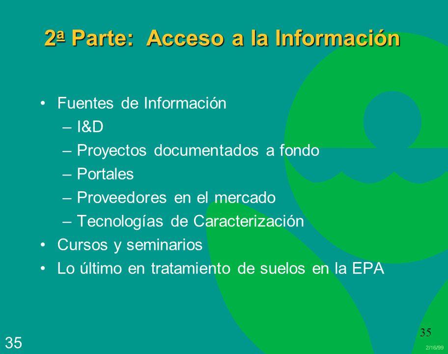 2/16/99 35 2 a Parte: Acceso a la Información Fuentes de Información –I&D –Proyectos documentados a fondo –Portales –Proveedores en el mercado –Tecnol