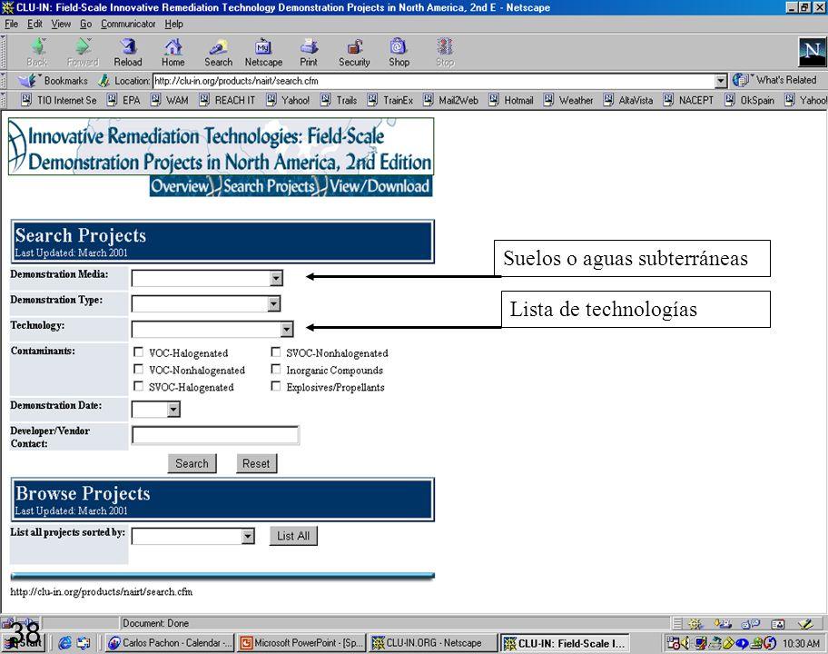 2/16/99 38 http://clu-in.org/products/nairt/ Suelos o aguas subterráneas Lista de technologías 38