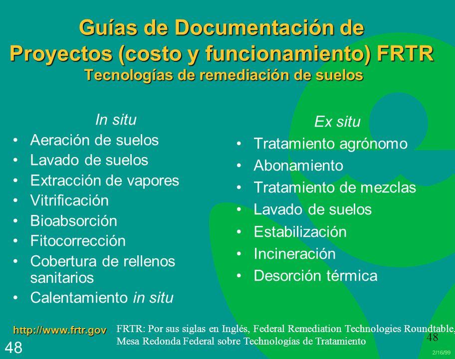 2/16/99 48 Guías de Documentación de Proyectos (costo y funcionamiento) FRTR Tecnologías de remediación de suelos In situ Aeración de suelos Lavado de