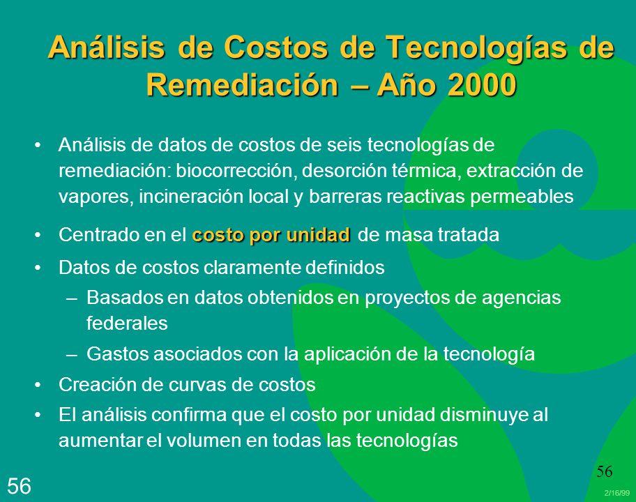 2/16/99 56 Análisis de Costos de Tecnologías de Remediación – Año 2000 Análisis de datos de costos de seis tecnologías de remediación: biocorrección,