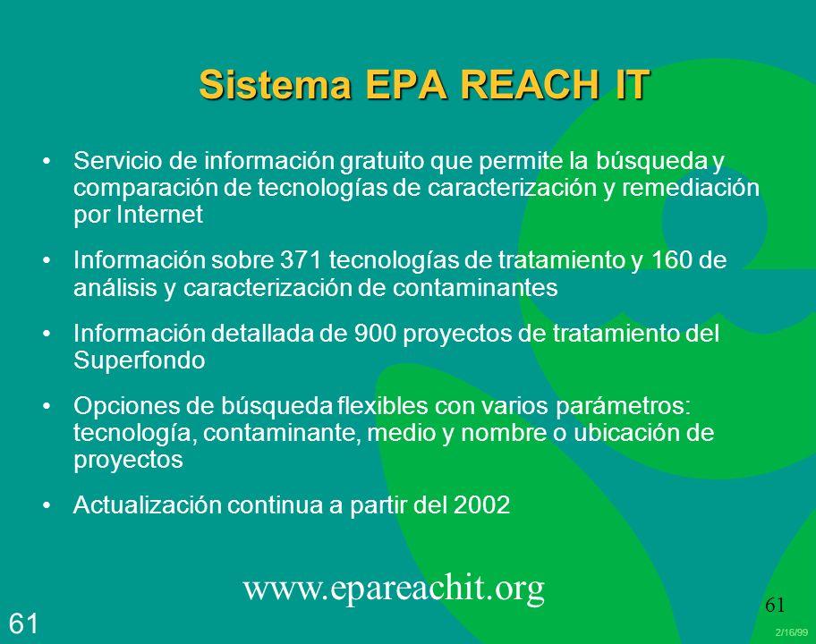 2/16/99 61 Sistema EPA REACH IT Servicio de información gratuito que permite la búsqueda y comparación de tecnologías de caracterización y remediación