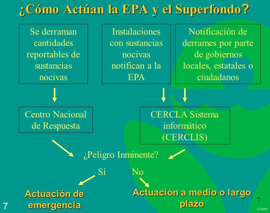 2/16/99 7 7 ¿Cómo Actúan la EPA y el Superfondo ? Se derraman cantidades reportables de sustancias nocivas Instalaciones con sustancias nocivas notifi