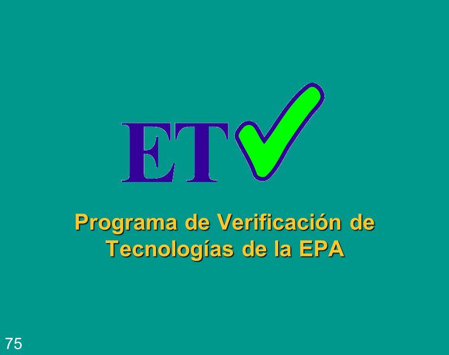 Programa de Verificación de Tecnologías de la EPA 75