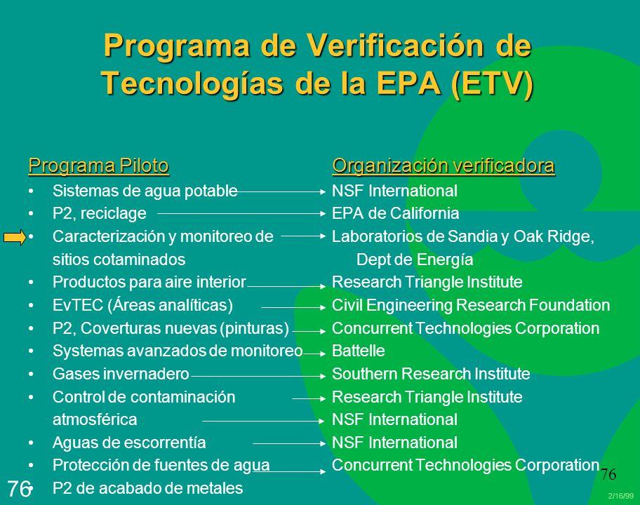 2/16/99 76 Programa de Verificación de Tecnologías de la EPA (ETV) Programa Piloto Sistemas de agua potable P2, reciclage Caracterización y monitoreo