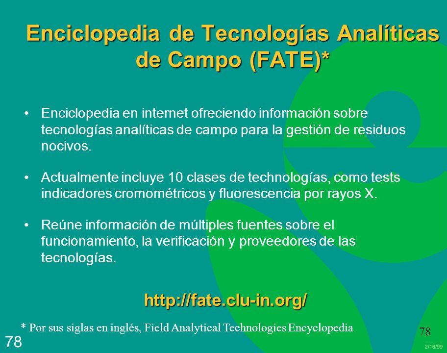 2/16/99 78 Enciclopedia de Tecnologías Analíticas de Campo (FATE)* Enciclopedia en internet ofreciendo información sobre tecnologías analíticas de cam