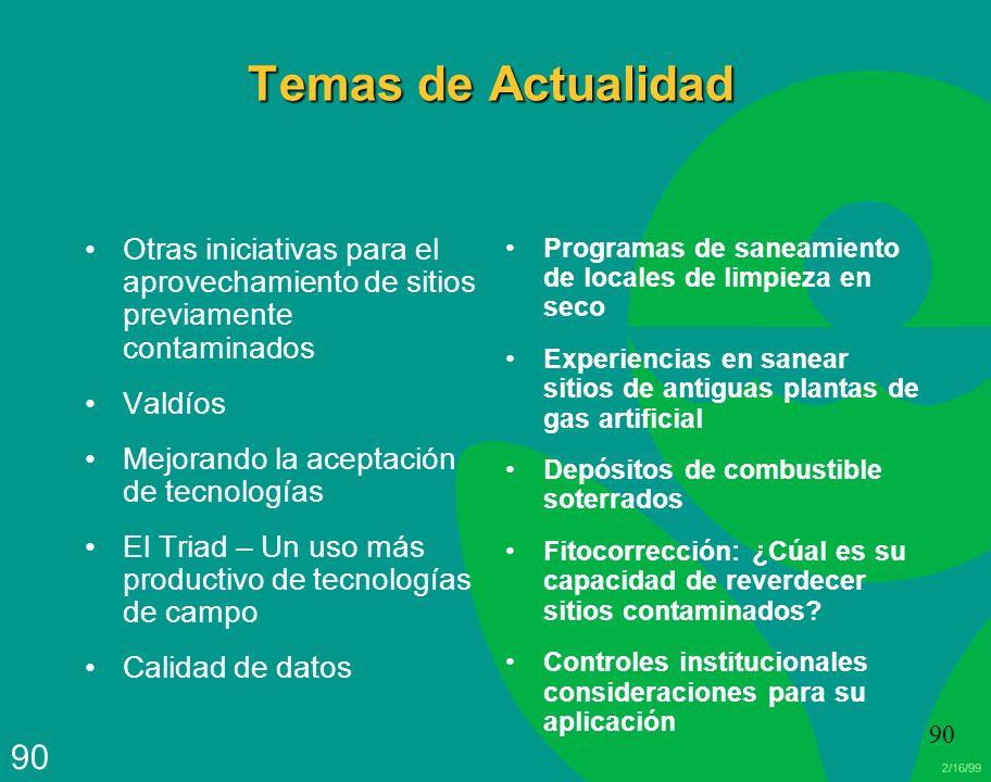 2/16/99 90 Temas de Actualidad Otras iniciativas para el aprovechamiento de sitios previamente contaminados Valdíos Mejorando la aceptación de tecnolo
